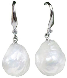 Zoetwater parel oorbellen Bling Kasumi White Pearl