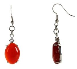 Edelstenen oorbellen Red Agate Oval