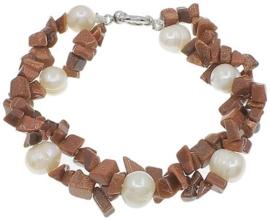 Zoetwater parel en edelstenen armband Pearl Goldsand