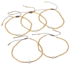 Zoetwater parel armband Mini Pearl One Gold Color