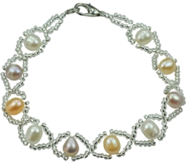 Zoetwater parel armband Pearl 8 Soft Colors