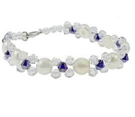 Zoetwater parel en kristallen armband Button Pearl Blue Chrystal