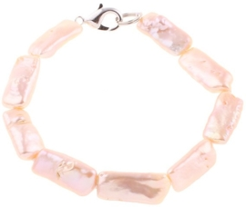 Zoetwater parel armband Pearl Rectangle Peach