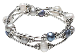 Zoetwater parel armband Three Loops White & Grey & Blue Pearl