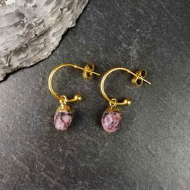 Edelstenen oorbellen Golden Hope 15 mm Rhodonite
