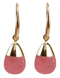 Edelstenen oorbellen Gold Dip Cherry Quartz