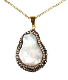 Zoetwater parelketting Bright Minimal Gold Teardrop