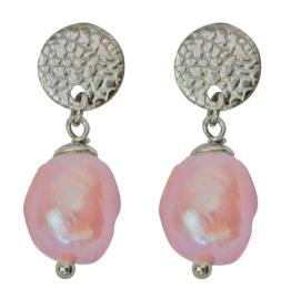 Zoetwater parel oorbellen Flow Round Silver Pearl Pink