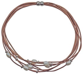 Zoetwater parelketting Indi Brown