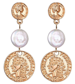 Zoetwater parel oorbellen Double Gold Coin Pearl