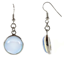 Edelstenen oorbellen Sea Opal Round