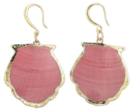 Schelpen oorbellen Gold Sea Shell Pink