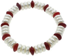 Mother of pearl parel en koralen armband Coral Coin Pearl