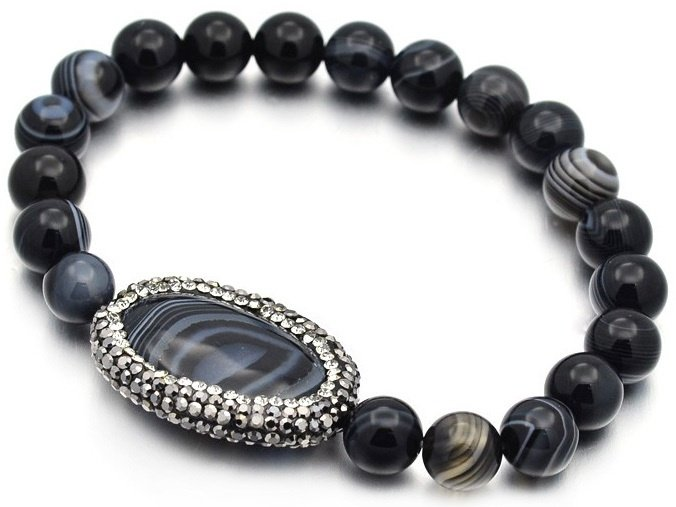 Edelstenen armband Bling Oval Black Striped Agate