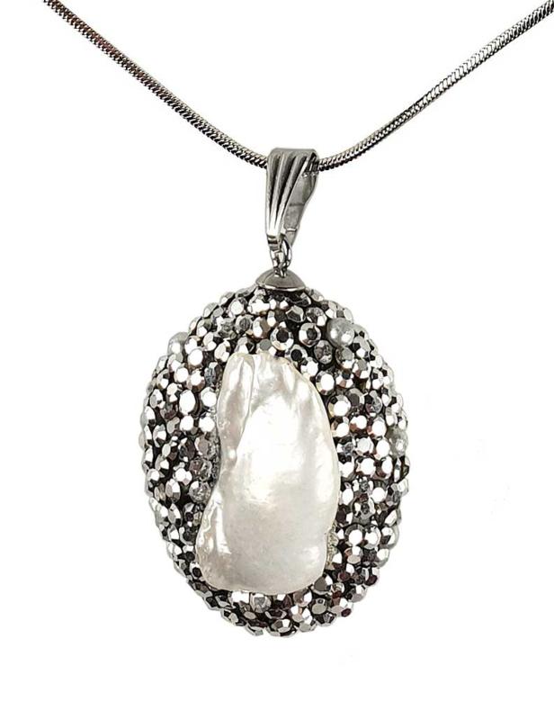 Zoetwater parelketting Bright Biwa Silver