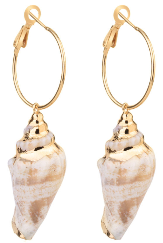 Schelpen oorbellen Big Hope Conch Shell Gold