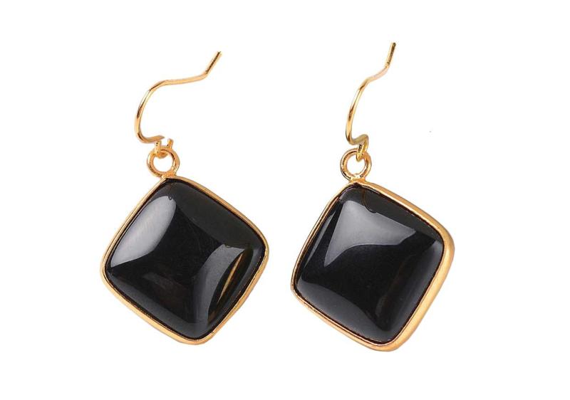 Edelstenen oorbellen Black Agate Gold Square