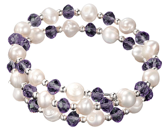 Zoetwater parel wikkelarmband Wrap Pearl Purple Crystal