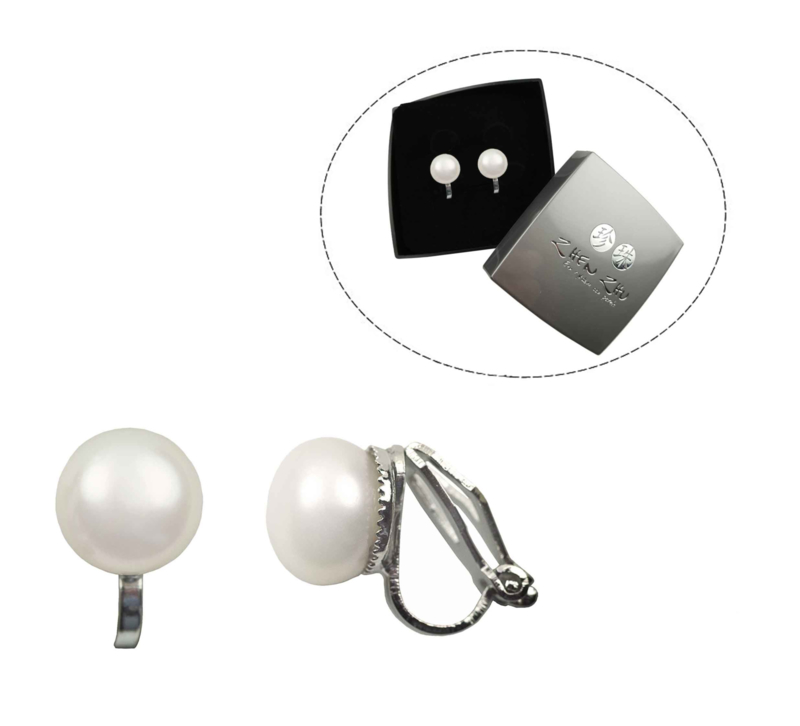 Cadeau set met zoetwater parel clips oorbellen Clip Pearl