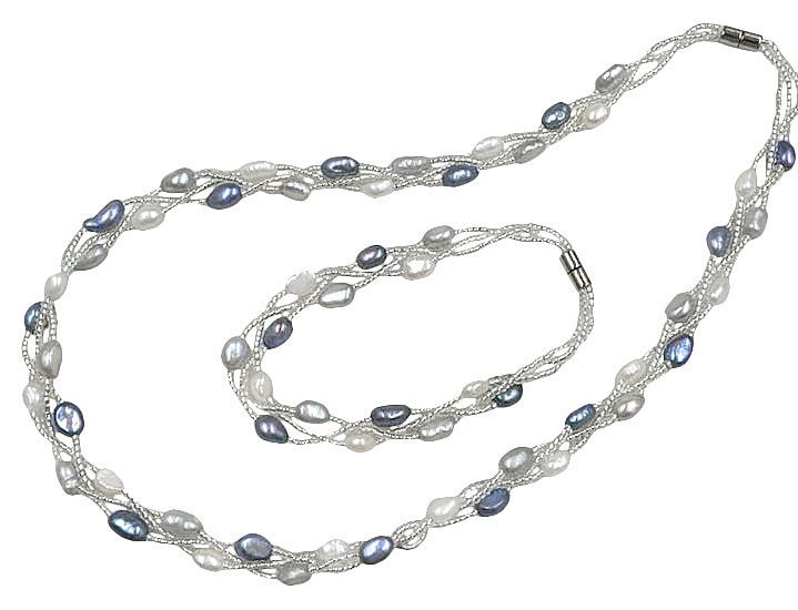Zoetwater parel set Twine Pearl Grey