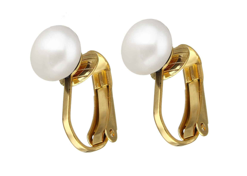 Zoetwater parel clips oorbellen Gold White Clip Pearl 8 mm