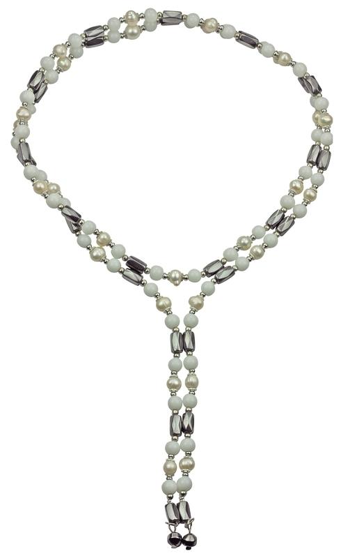Zoetwaterparel en edelstenen ketting Pearl Magnetite Wrap