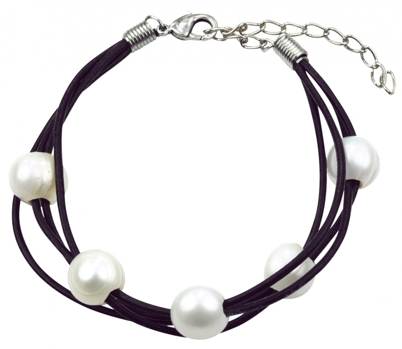 Zoetwater parel armband Black Leather 5 Pearl