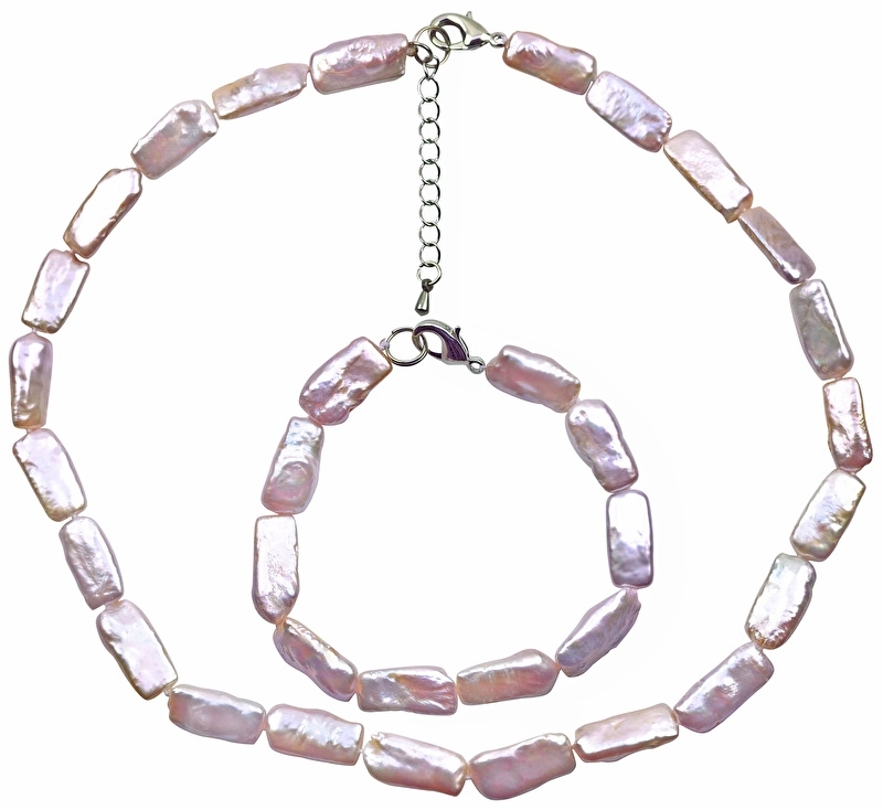 Zoetwaterparel set Pearl Rectangle Pink