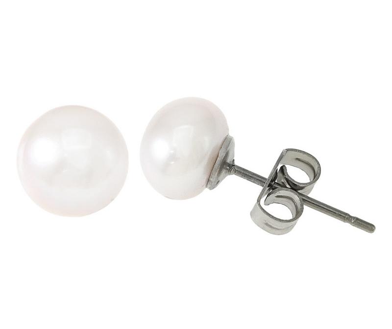Zoetwater parel oorbellen Pearl White 8 mm