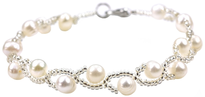 Zoetwater parel armband Twist Pearl White