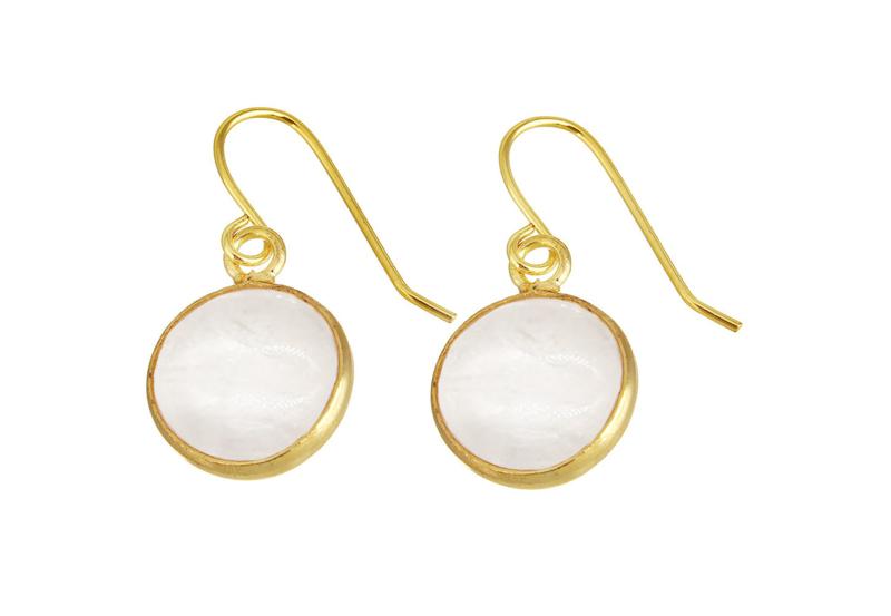 Edelstenen oorbellen  Clear Quartz Gold Round