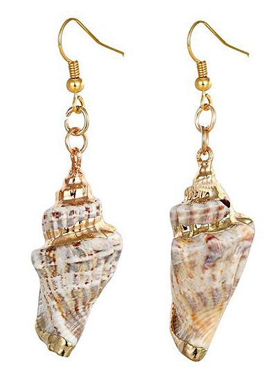 Schelpen oorbellen Seashell Gold