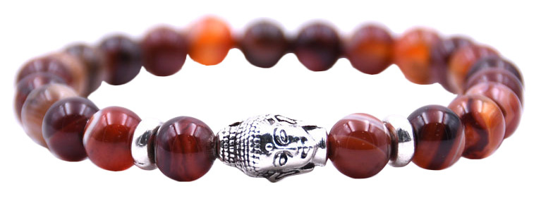 Edelstenen armband Buddha Red Lace Agate
