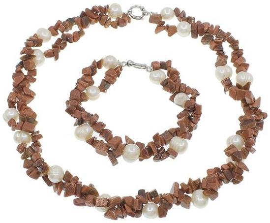 Zoetwaterparel set met edelstenen Pearl Goldsand