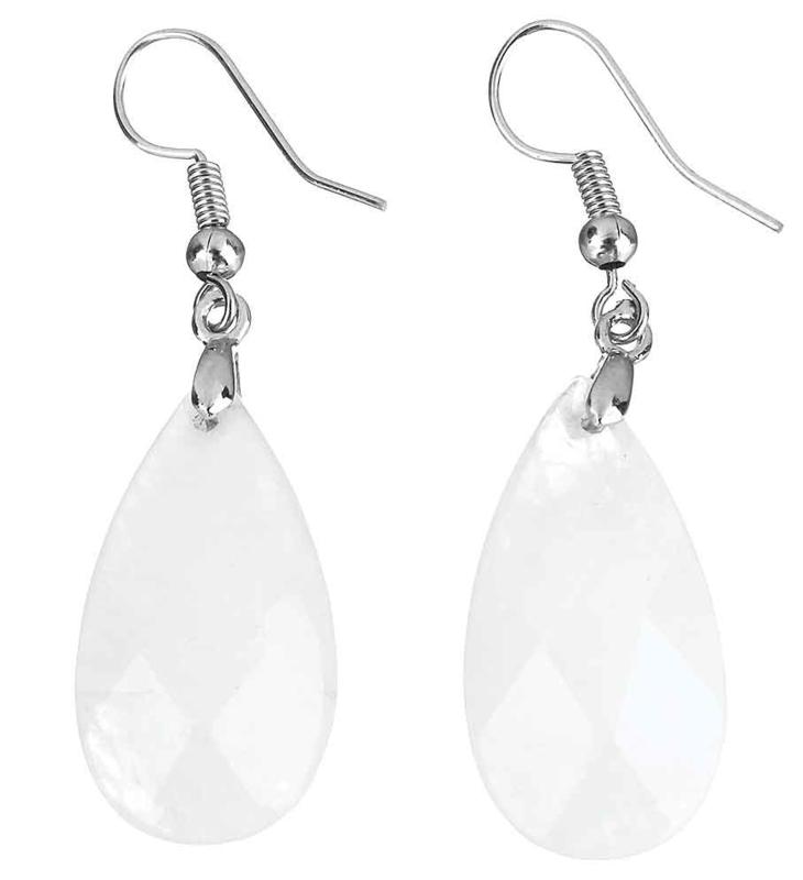 Edelstenen oorbellen Facet Clear Crystal