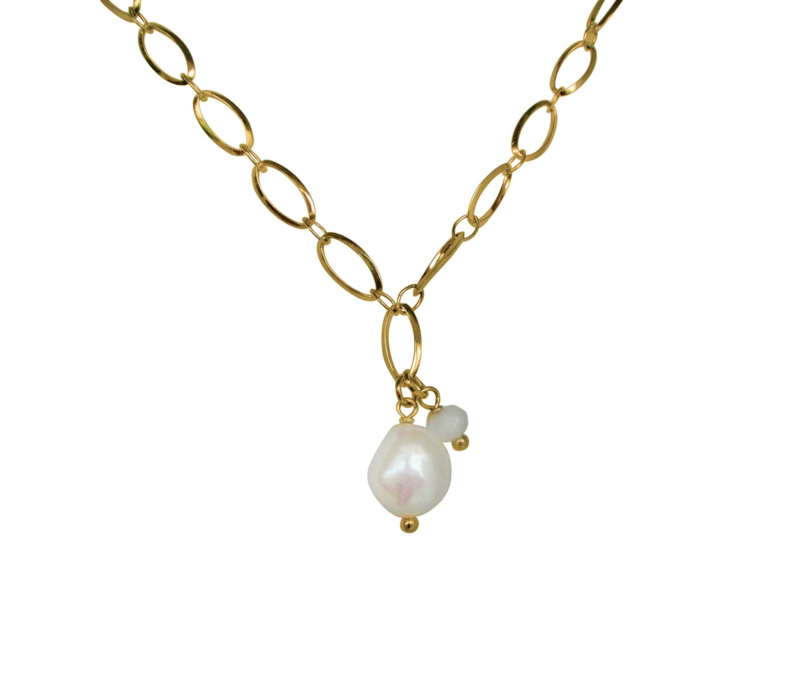Zoetwater parelketting Flow Oval Gold Pearl