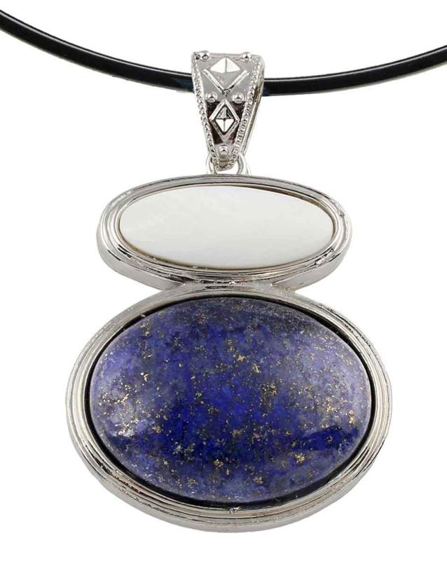 Edelstenen ketting met parelmoer Lapis Lazuli & White Shell