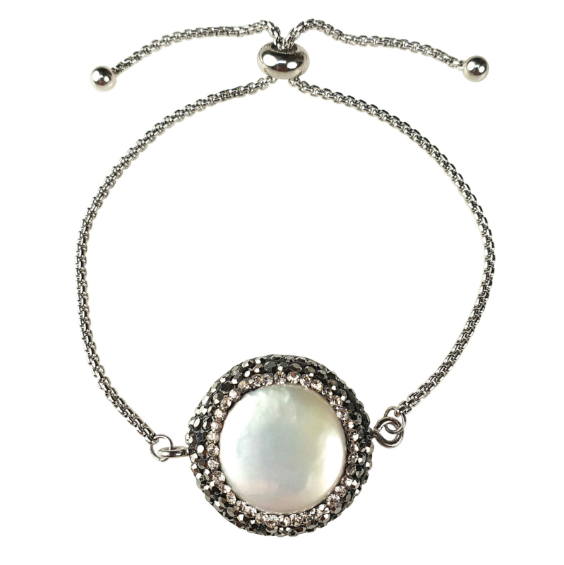 Zoetwater parel armband Bright Minimal Silver Coin
