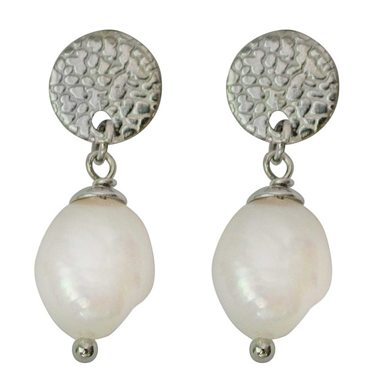 Zoetwater parel oorbellen Flow Round Silver Pearl