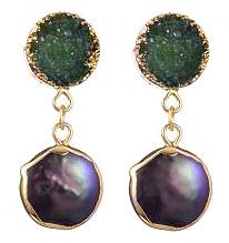 Zoetwater parel oorbellen met edelstenen Green Druzy Coin Pearl