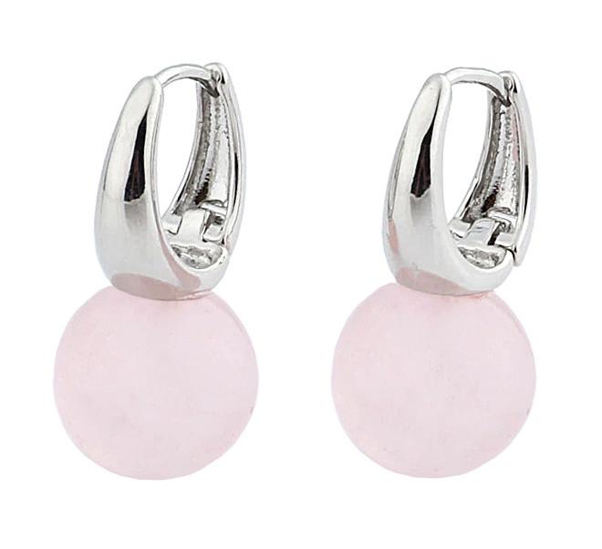 Edelstenen oorbellen Silver Rose Quartz Ball