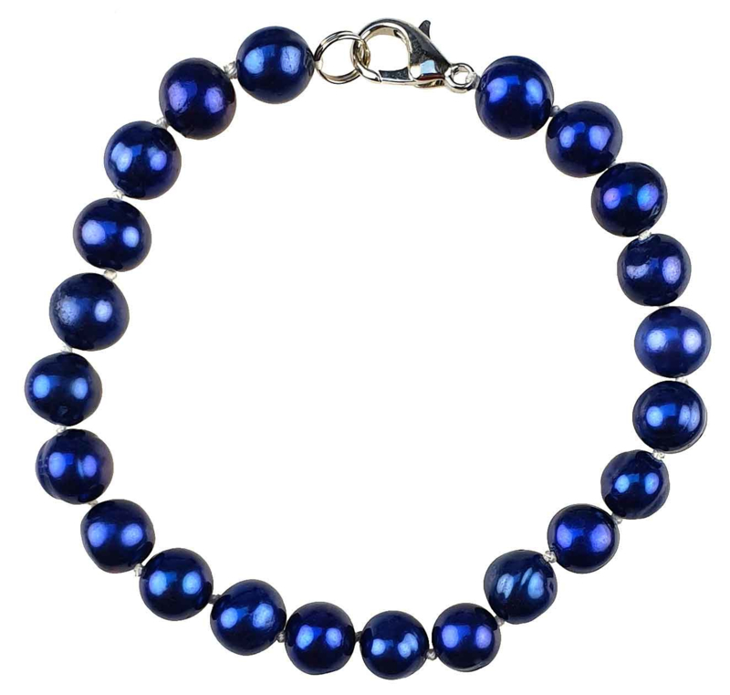Zoetwater parel armband Pearl Royal Blue