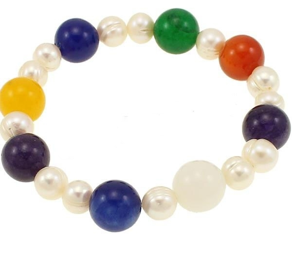Zoetwater parel en edelstenen armband Decorative Agate