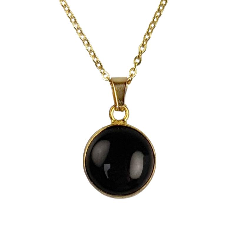 Edelstenen ketting Black Agate Gold Round