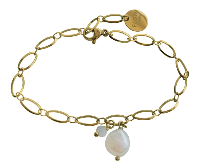 Zoetwater parel armband Flow Oval Gold Pearl