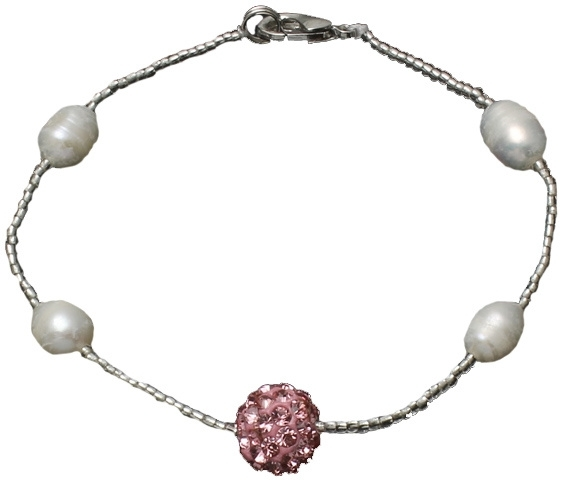 Zoetwater parel armband Pearl Stras Ball Pink