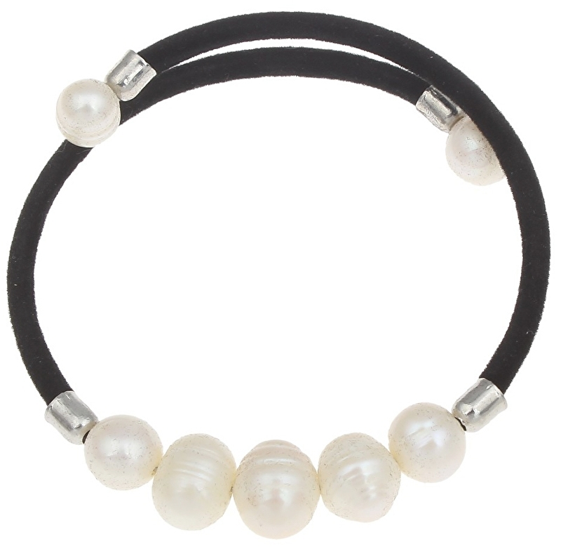 Zoetwater parel armband Pearl Black Velveteen