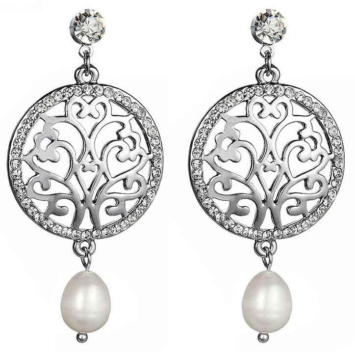 Zoetwater parel oorbellen Bohemian Silver Bling Pearl