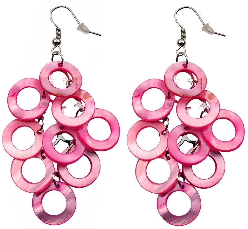 Parelmoeren oorbellen Pink Shell Rings
