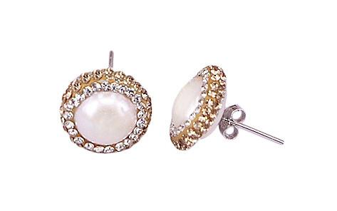 Zoetwater parel oorbellen Bright Golden Pearl